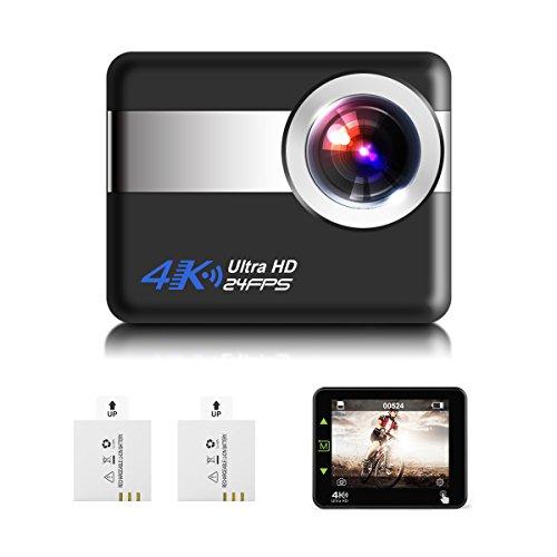 Action Cam, sgodde 4K Macchina fotografica di sport 1080P HD 12MP CAM 170Ultra Grandangolare, Fotocamera subacquea, impermeabile, con kit di montaggio, 1050mAh batteria per ciclismo Nuoto arrampicata immersione