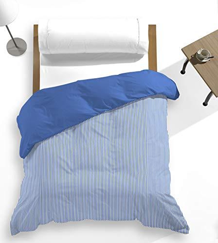 Catotex - Funda nórdica rallitas Estampada + Lisa Reversible para edredón. 50% algodón 50% Poliester. Cama 105 cm Azul Zafiro. Modelo Nalu