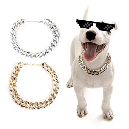Hanamaki 2Pcs Gold Plastic Collar Link Dog Chain Necklace. Cute Fashion Bling Pet Metal Look Jewelry for Small and Medium Cat Dog Accessories (14.6-17.3inch)