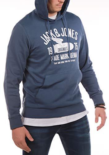 Jack and Jones Herren Hoodie Sweatshirt Rundhals Kapuzenpullover Print Sweat Hoody (Ensign Blue ( Blau ), 3XL)