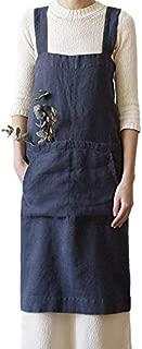 TOOGOO Women Overalls Casual Cooking Aprons Dress Summer Autumn Ladies Retro Loose Solid Pocket Apron Sleeveless Back Cross Suspender Dress Plus Size Dark Blue M