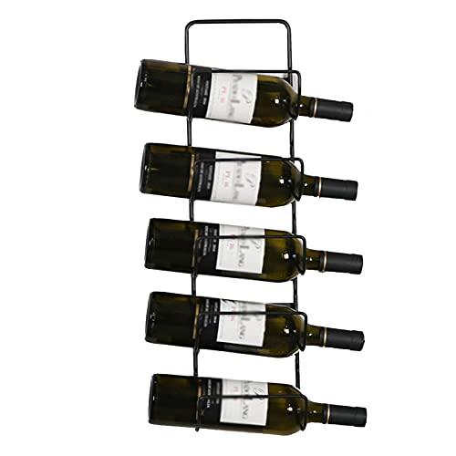 Estante Para Vino De Alambre De Metal Montado En La Pared, Soporte Para Botellas De Vino, Organizador De Almacenamiento, Estante De Exhibición, Barra De Cocina (Capacidad Para 5 Botellas),Negro