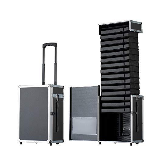 Pull Up Samplecase 25L Classic - Vertreterkoffer/Musterkoffer/Präsentationskoffer/Brillenkoffer für bis zu 90 Brillen - Ausziehbarer Koffer mit patentierter Pull Up Technik