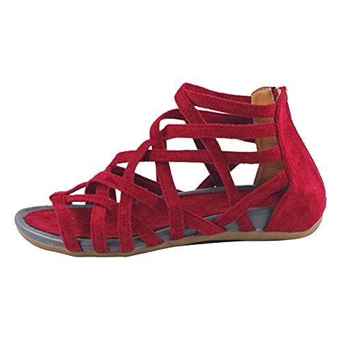 HEling Sandalias de cuña para mujer, informales, abiertas, cruzadas, con cremallera, de un solo color, transpirables, tallas grandes, rojo, 37.5 EU