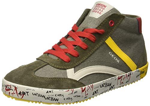 Geox Jungen J Alonisso Boy G Hohe Sneaker, Grün (Military/Yellow C0099), 31 EU