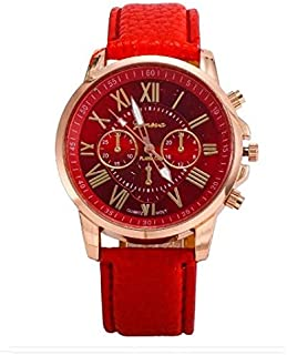 Geneva Luxury Leather Watch With Roman Dial /Red