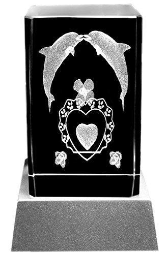 Kaltner Präsente Stimmungslicht – EIN ganz besonderes Geschenk: LED Kerze/Kristall Glasblock / 3D-Laser-Gravur VERLIEBTE Delfine