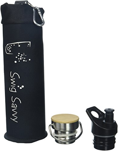SWIG SAVVY Double Walled Vacuum Insulated Stainless Steel Water Bottle Blue 20 OZ with 3 Interchangeable Caps