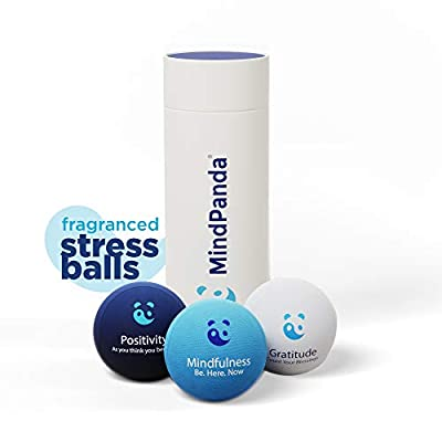 MindPanda Mindfulness Stress Ball, 3X Fragranced Hand Exerciser Stress Balls for Adults, Kids and Teens, Anxiety Toys with Motivational Affirmations by MindPanda