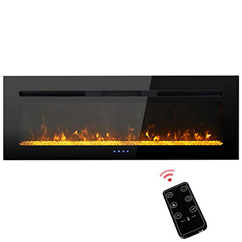 PHI VILLA 48 inch Electric Fireplace, Recessed/Insert & Wall Mounted Electric Space Heater for The Living Room, Timer with Remote Control, Touch Screen, Adjustable Flame Color, 1500W (Black)
