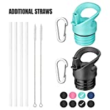 MILKUN Straw Lid Compatible with Hydro Flask Standard Mouth, Simple Modern Narrow Bottle and Other Sport Water Bottle - 2 Pack with Additional Straws (Black/Mint)