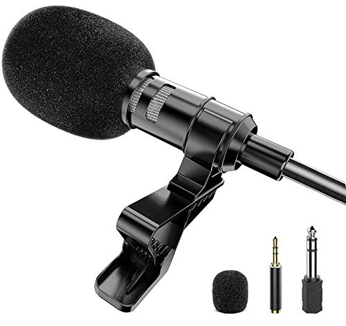 Lavalier Lapel Microphone Kit Clip On Omnidirectional Condenser Lav Mic for iPhone, Ipad, DSLR, Camcorder, Zoom/Tascam Recorder, PC, MacBook, Samsung Android, Smartphones