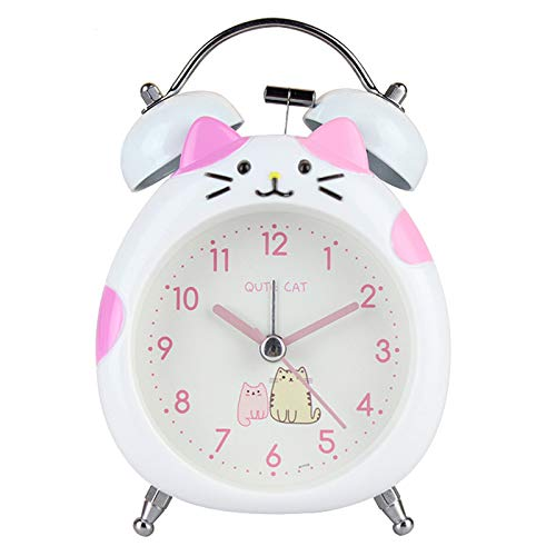 JINSERTA Cat Alarm Clock for Girls, Cartoon Alarm for Kids and Teen Loud Bell and Button Night Light for Heavy Sleepers (White)