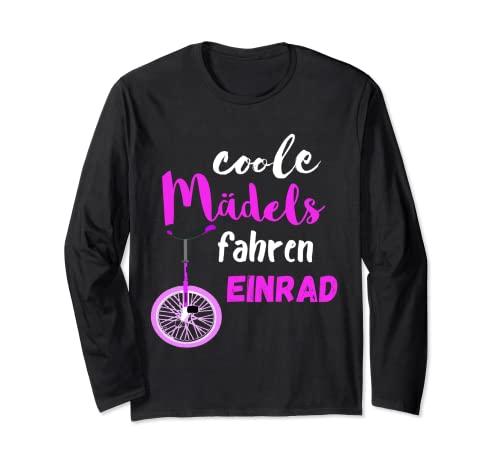 クールな女の子 一輪車 ドライバー サーカス バランシング 長袖Tシャツ
