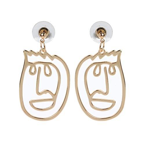 Ydhsja - Pendientes colgantes para rostro hueco, forma de mano abstracta, dorados