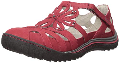Jambu Women's Abby Wide Width Mary Jane Flat, Red, 8.5 W US