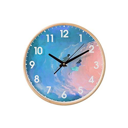 FFCVTDXIA Reloj Creativo patrón de Dibujos Animados Pared para niño Azul Madera Arte Redondo Regalo Sala de Estar Dormitorio Moderno zhihao