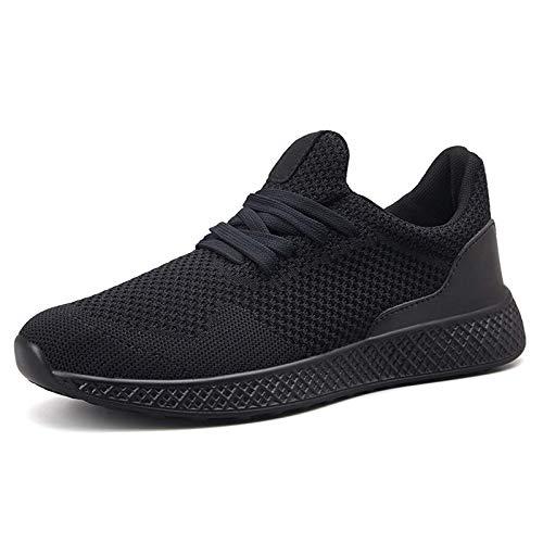 COOPCUP Hombre Zapatos de correr Deportes Zapatillas Transpirables Cómodo Gimnasio Entrenamiento al aire libre, color Negro, talla 41 EU