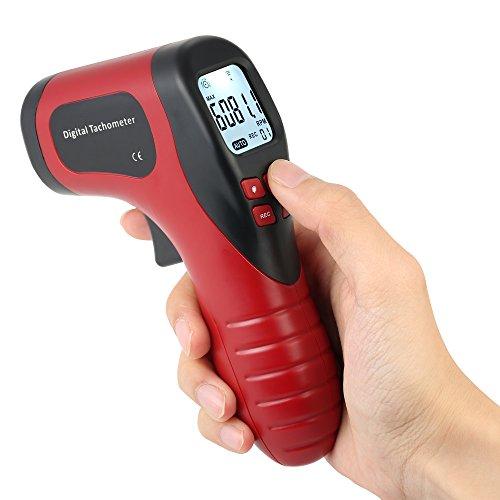 KKmoon Digital Tachymètre Affichage à Cristaux Liquides tenu dans la main Tachymètre de vitesse de Moteur de 2.5-99999RPM de Tachymètre sans Contact avec la Bande Réfléchissante