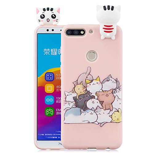 EuCase Coque Huawei Honor 7C Silicone Rose Housse Etui Honor 7C Antichoc Mignon 3D Cartoon Dessin Animaux Ultra Mince Fine Souple TPU Case Protection Bumper Case Cover Chat