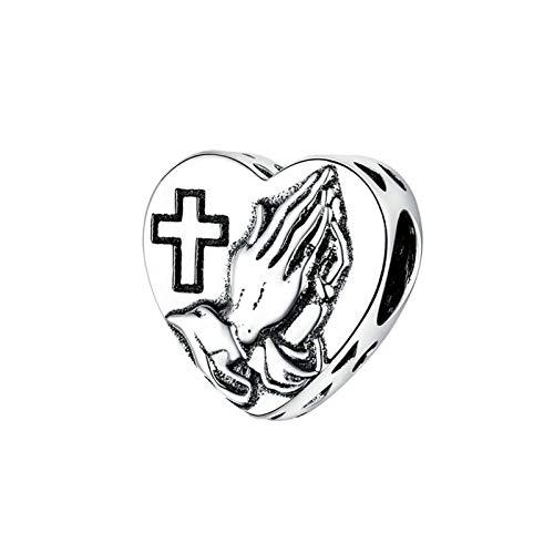HMMJ Charms Beads, S925 Sterling Silver Love Oración DIY Hecho a Mano Colgante de corazón Compatible con Pandora Troll Chamilia Charm Pulsera Europea Collares