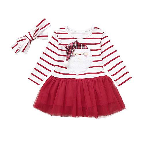 POLP niño Navidad Niña Vestido de Mameluco de Manga Larga con Estampado de Cervatillo para bebé Infantil Trajes de Navidad Ropa Falda Princesa de Fiesta Disfraz Vestidos de Navidad 1pc