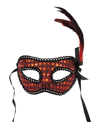 Sequin and Feather Detail Face Mask Red