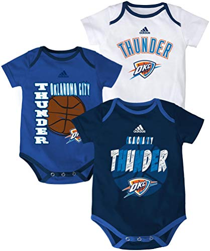 NBA Oklahoma City Thunder Newborn '3 Point Spread' Bodysuit Set, Navy, 3-6 Months