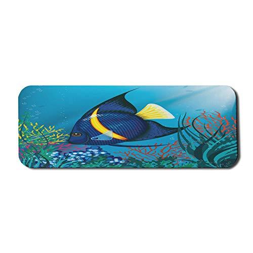 Nautisches Computer-Mauspad, tropische Fische, die Unterwasserblasen und Korallenriff-Tiefsee-Aquarium-Bild schwimmen, rechteckiges rutschfestes Gummi-Mauspad großes blaues Gelb