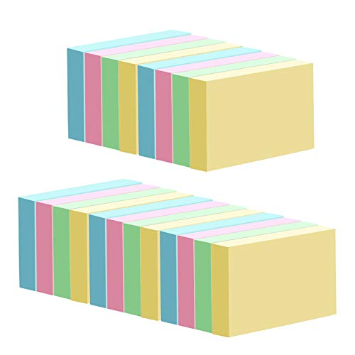 Mini Sticky Notes, 1.5 x 2 Inches Small Self-Stick Notes, for Office, School and Home, 4 Bright Colors, 20 Pads, 2000 Sheets