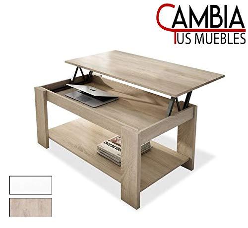 CAMBIA TUS MUEBLES - Mesa de Centro elevable con revistero para Comedor, salon Premier MC-3, Mesa Auxiliar en Color Blanco o Roble (Roble)