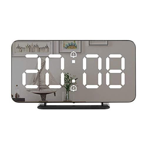 YXFYXF Digitaler Wecker Wecker Spiegel Digital Wecker LED Elektronische Temperatur Wand Tisch Schlummeruhren USB Multifunktions Nachtlicht Home Office Uhr Digital Wecker Nachttisch