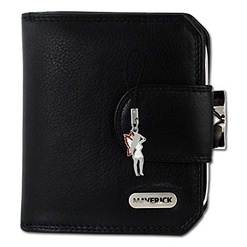 Maverick Damen Portemonnaie Geldbörse schwarz Leder 10x2.5x9cm OPD103S Leder Portemonnaie