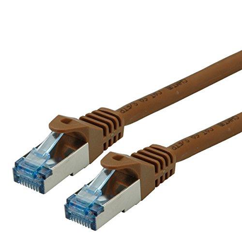 ROLINE S/FTP LAN Kabel Cat 6A Component Level LSOH| Ethernet Netzwerkkabel mit RJ45 Stecker | Braun 10 m