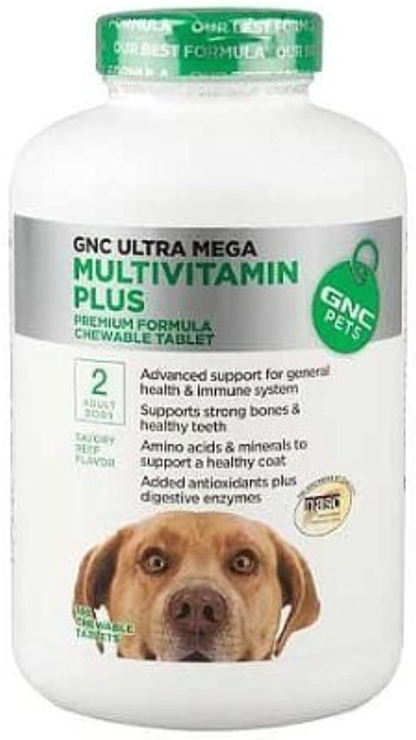 GNC Ultra Mega Multivitamin Plus   2 Adult Dogs  Beef Flavor, 120 Chewable Tabs by GNC Pets