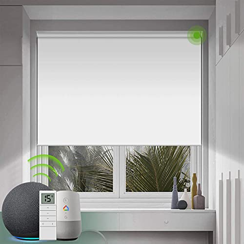 Yoolax Motorized Blind Shade for Window with Remote Control Smart Blind Shade Compatible with Alexa Motorized Roller Shade Blackout Battery Solar Powered Blind Custom up 98''W X 138''H (Vinyl-White)