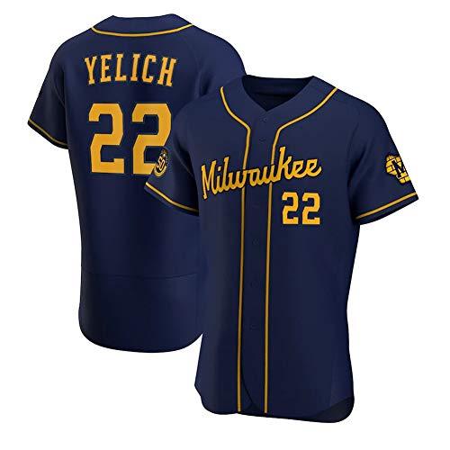 Brdwers # 22 Yelich Camiseta de béisbol para Hombre, Manga Corta, Uniforme del Equipo de Juego, botón Superior, Sudadera con Ventilador, Camiseta de béisbol Personalizada (S-XXXL)- Elite Dark Blue-