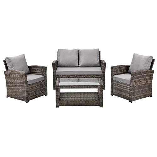 SVITA Roma Polyrattan Lounge Rattan Garten Möbel Set mit Sofa und Sessel Gartenlounge Essgruppe mit Tisch Braun