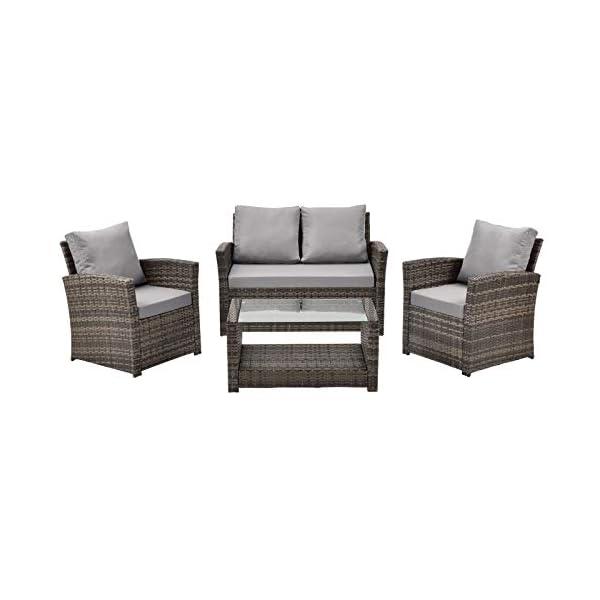 SVITA Roma Polyrattan Lounge Rattan Garten Möbel Set mit Sofa und Sessel Gartenlounge Essgruppe mit Tisch Grau