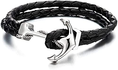 Aluyouqi Co.,ltd Collar Pulsera De Acero Inoxidable para Hombres Y Mujeres con Ancla Marina Pulsera De Cuero Trenzado Negro Genuino