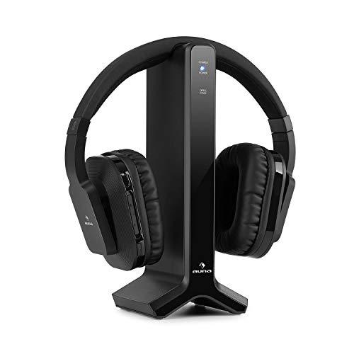 auna Silencium Funk-Kopfhörer mit Ladestation, 2,4 GHz, integrierte Lautstärkeregelung, 8 h Akkulaufzeit, 20 m Reichweite, Analoger Eingang, Digitaler Eingang: optisch & coaxial, schwarz