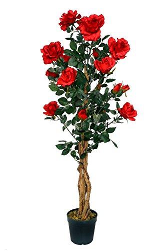 McPalms Rosenbaum rot 1,20 m Kunstpflanze Kunstrose Kunstblume