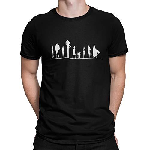 Camiseta Camisa One Piece Chapéus de Palha Masculino Preto Tamanho:M