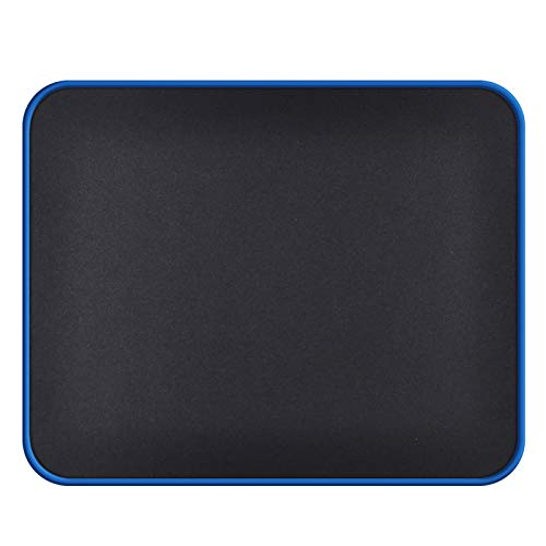 Computer Mouse Pad (4mm Thick) with Blue Non Slip Rubber Base, Small Black Gaming Mouse Pads Mat with Smooth Surface, Durable Stitched Edge Mousepad for Laptop, Gaming, Home(10.2x8.3x0.16in)