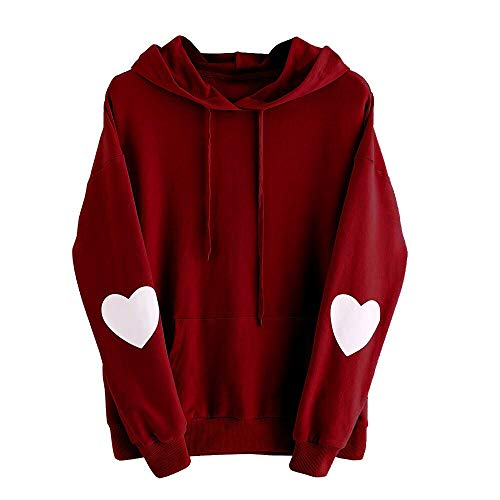 Xinantime Womens Casual Hoodies Long Sleeve Heart Print Hoodie Sweatshirt Jumper Hooded Pullover Tops Blouse (4XL, Wine)