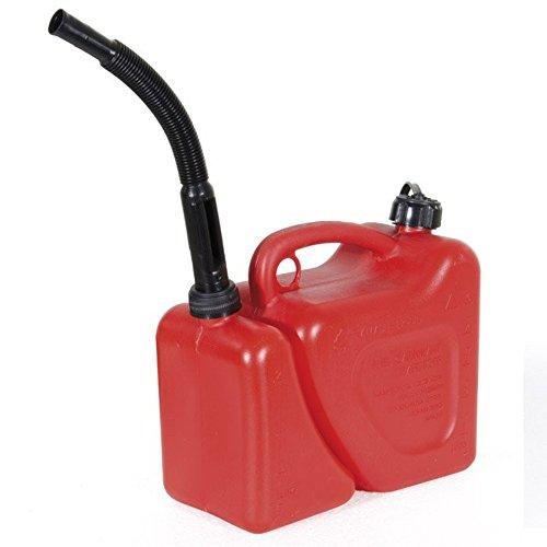 VERDELOOK Jerrican double en plasique rouge avec tuba, adapté à tout type de carburant, capacité 5 + 2 L