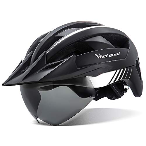 VICTGOAL Bike Helmet with USB Rechargeable Rear Light Detachable Magnetic Goggles Removable Sun Visor Mountain & Road Bicycle Helmets for Men Women Adult Cycling Helmets (Black White)