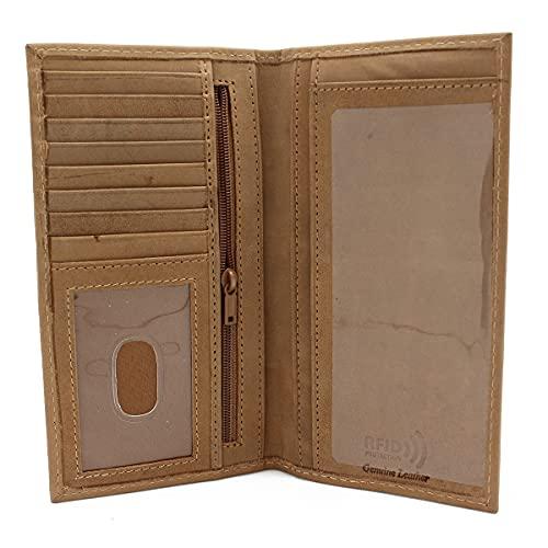 RFID safe Leather Checkbook Cover Holder Bifold Wallet for Him & Her Black Brown & Khaki (TAN KHAKI J213LCB)