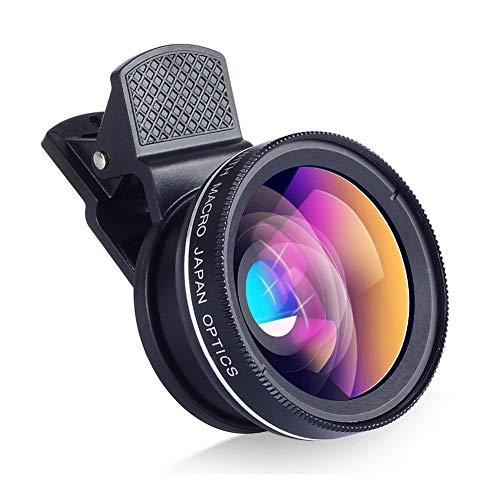 BAN SHUI JU MINSU GUANLI Kit Obiettivo Macro E Obiettivo Grandangolare con Luce LED, Lenti for Fotocamera A Clip for...