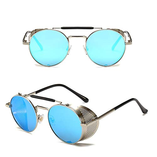 Único Gafas de Sol Sunglasses Gafas De Sol Steampunk Redondas De Metal para Hombres Y Mujeres, Gafas De Sol Retro De DIS